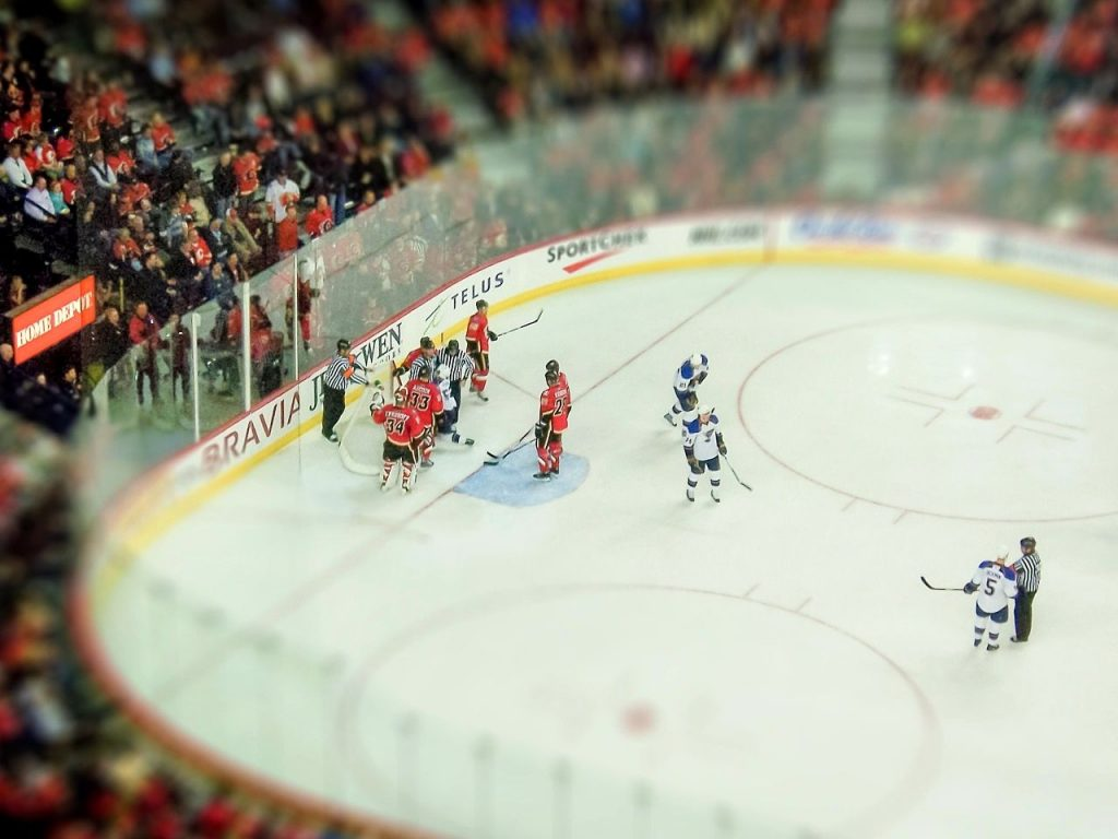 Хоккейный матч на ледовой арене