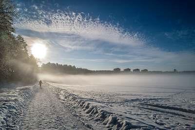 Панорама Железногорского водохранилища зимой