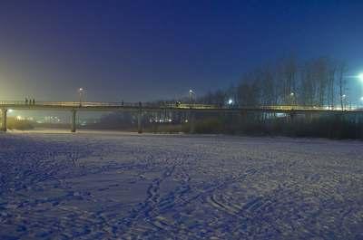 Мост через реку Читинка зимой